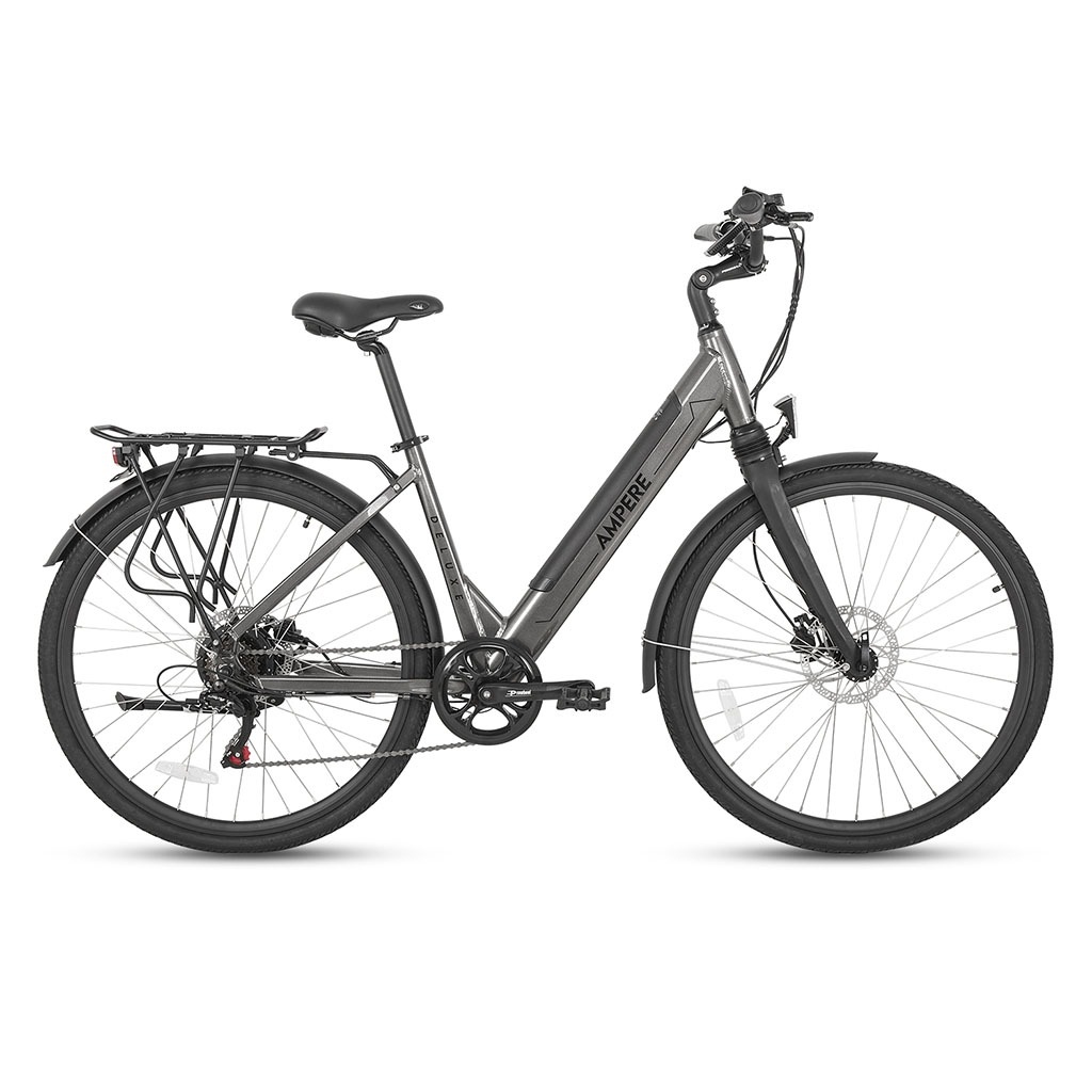 ampere deluxe grey step through ebike