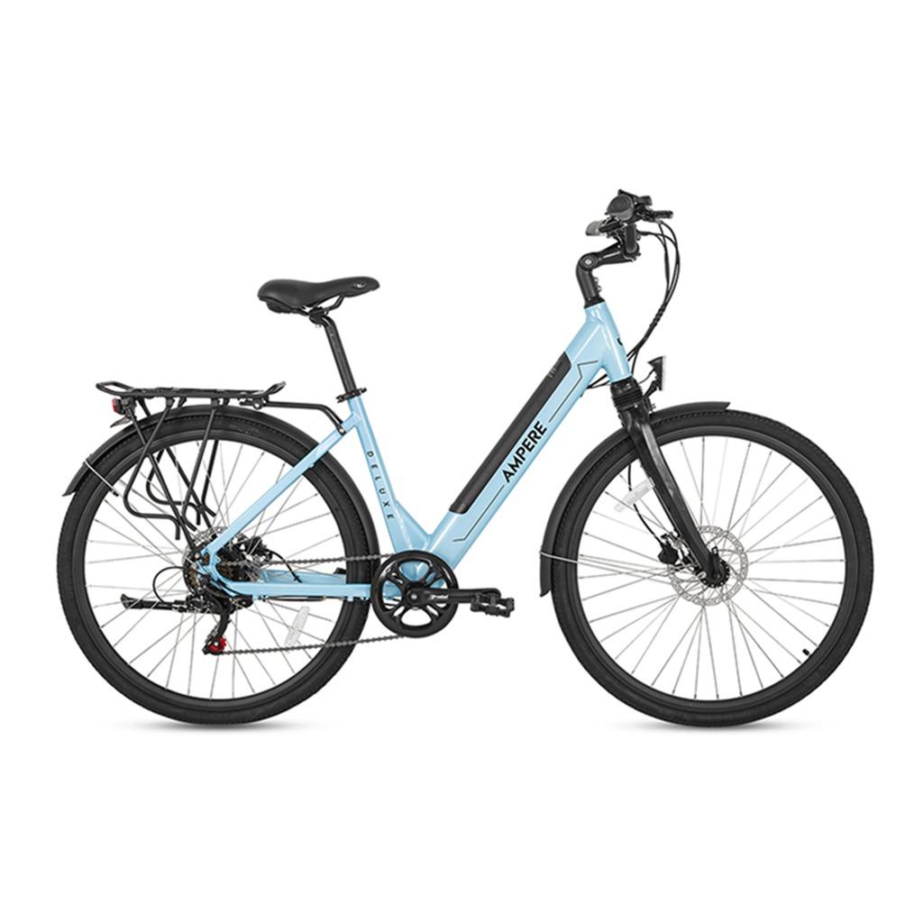 ampere light blue step through e-bike