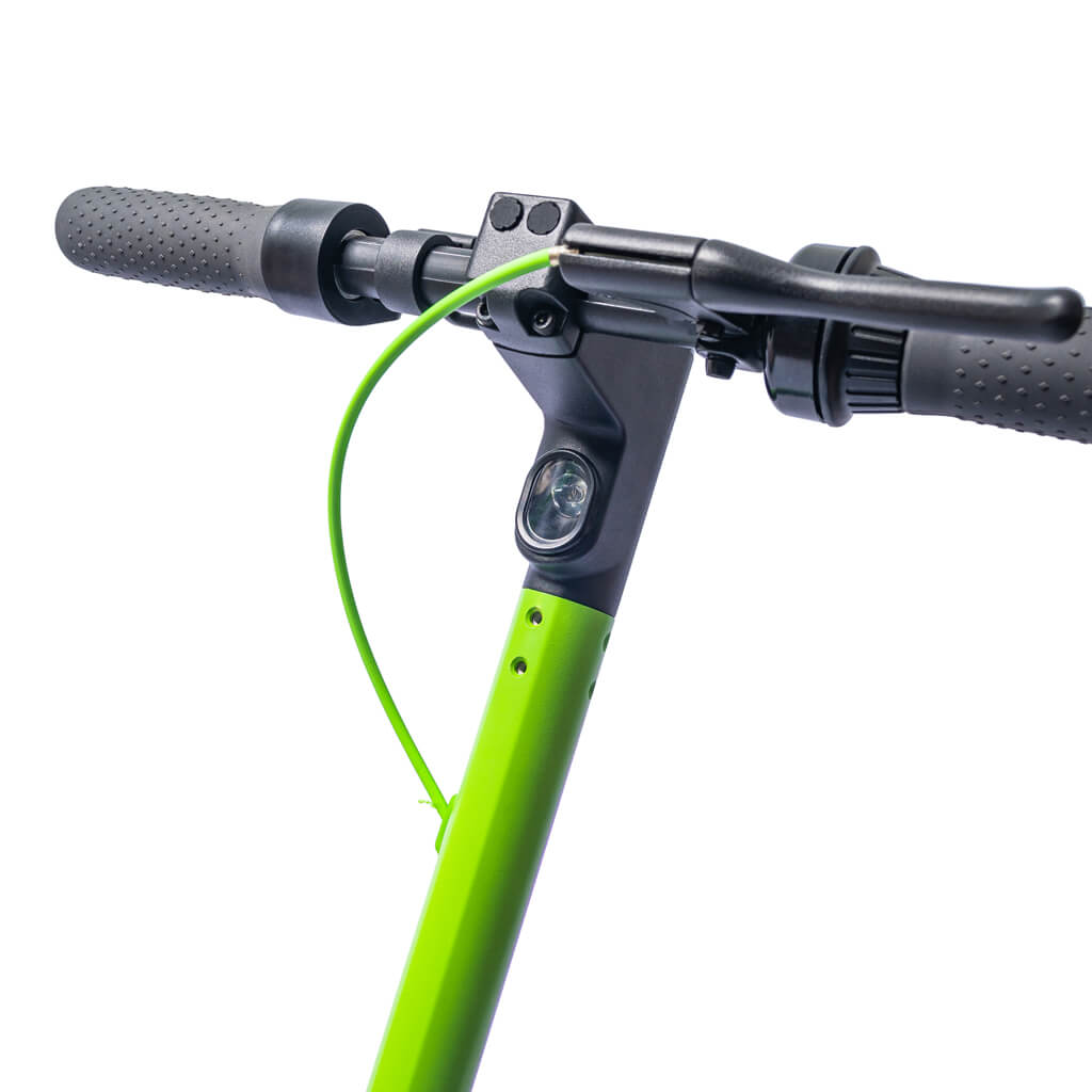 handle of ampere green e-scooter