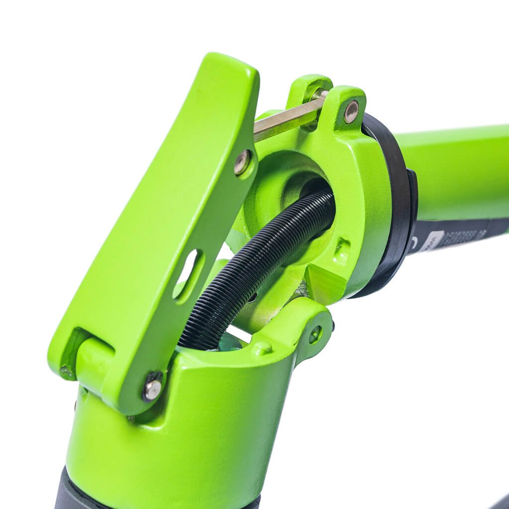 front of green e-scooter